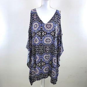 ASTR BOH0 BLOCK PRINT V-NECK TASSEL TUNIC DRESS